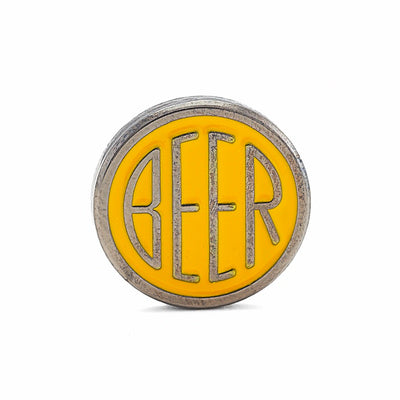 BEER enamel pin. This beer dot design beer badge lapel has gloss yellow soft enamel & black nickel finish