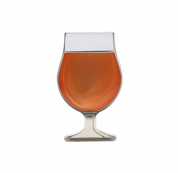 Beer enamel pin tulip glass. This beer badge lapel has amber color enamel with 3D details