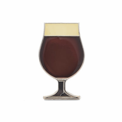 Beer enamel pin tulip glass. This beer badge lapel has deep brown color enamel with 3D details