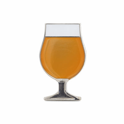 Beer enamel pin tulip glass. This beer badge lapel has gold color enamel with 3D details