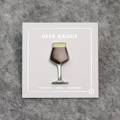 Beer enamel pin teku glass. This beer badge lapel has deep brown color enamel with 3D details