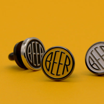 BEER enamel pin set of three. These beer dot design beer badge lapel pins have soft enamel & nickel finish