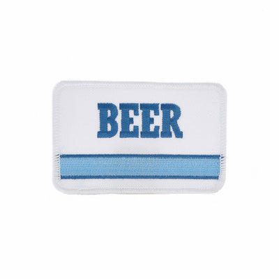 Embroidered BEER patch with vintage '70s '80s inspired generic blue stripe embroidery design