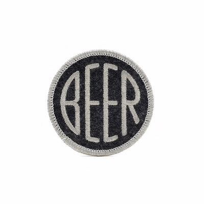 Embroidered BEER patch with metallic silver embroidery thread on black heather felt