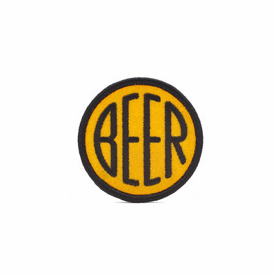 Embroidered BEER patch with black embroidery thread on yellow felt