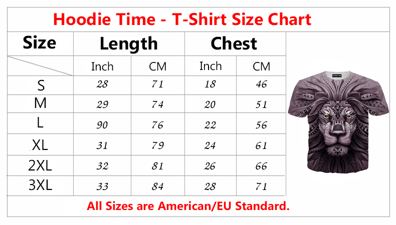 Hoodie Time T-shirt size chart