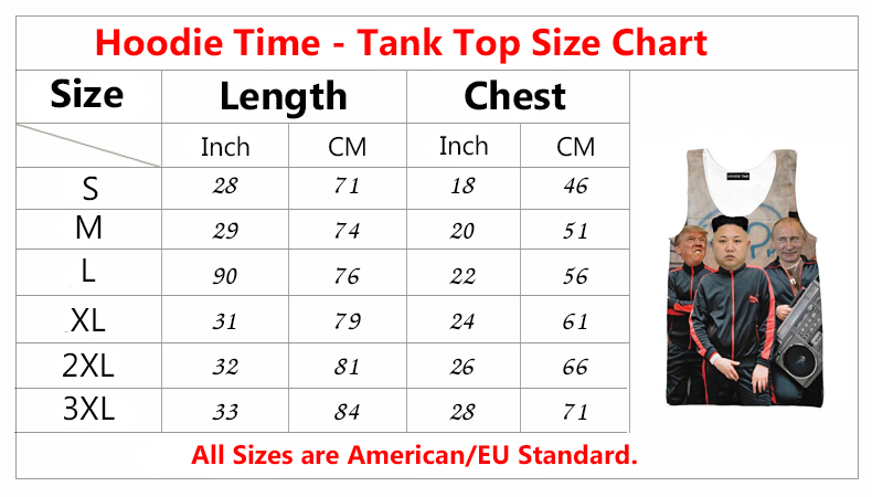 Hoodie Time Tank Top Size Chart