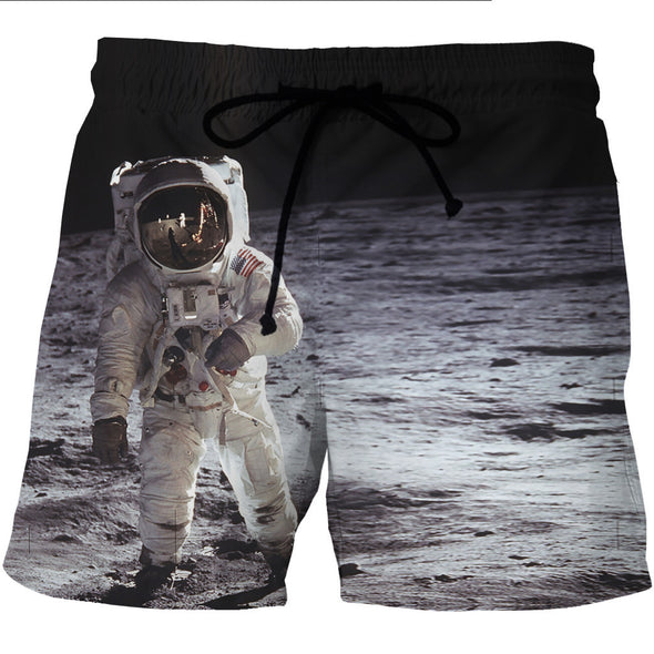 Astronaut Moon Landing Board Shorts - 3D Designed Swim Trunks-Hoodie Time - Anime and Gaming Hoodies