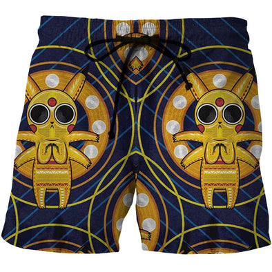 Pokemon Pikachu Acid Trip Board Shorts - 3D Designed Swim Trunks-Hoodie Time - Anime and Gaming Hoodies