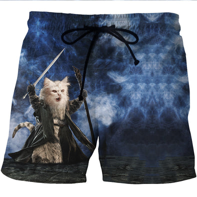 You Shall Not Pass Gandalf Cat Board Shorts - 3D Designed Swim Trunks-Hoodie Time - Anime and Gaming Hoodies