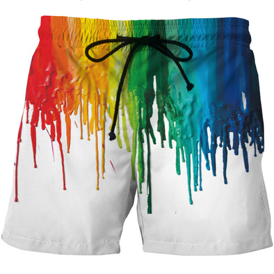 Dripping Paint Board Shorts - 3D Designed Swim Trunks Styled Shorts-Hoodie Time - Anime and Gaming Hoodies