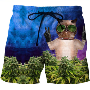 420 Weed Cat Board Shorts - 3D Designed Swim Trunks Styled Shorts-Hoodie Time - Anime and Gaming Hoodies