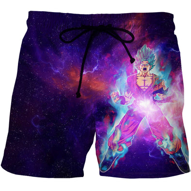 Super saiyan blue goku board shorts dragon ball z swim trunks