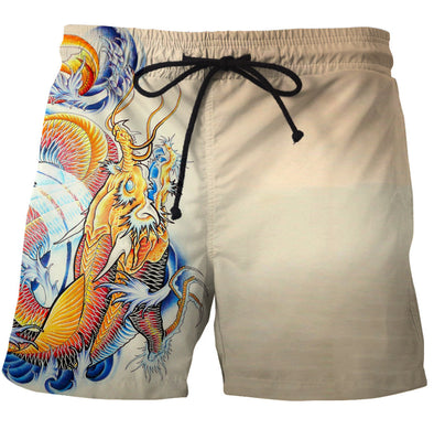Japanese Gold Fish Dragon Board shorts swim trunks