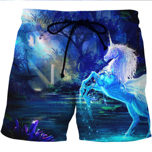 Beautiful Unicorn Board Shorts - 3D Designed Swim Trunks Styled Shorts-Hoodie Time - Anime and Gaming Hoodies