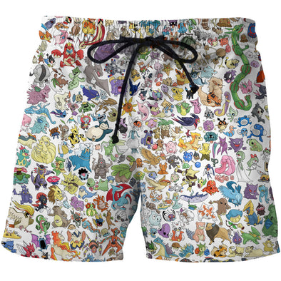 Pokemon All 151 Pokemon Board Shorts - 3D Designed Swim Trunks Styled Shorts-Hoodie Time - Anime and Gaming Hoodies