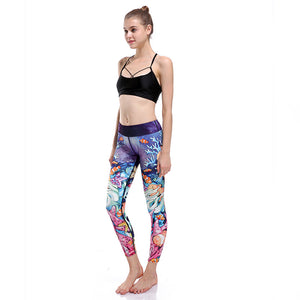 cool designed colorful fish and water yoga pants