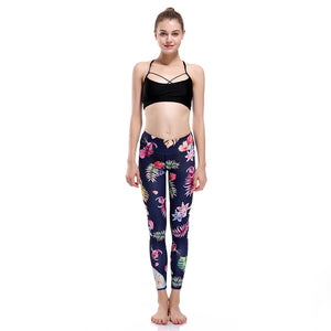 colorful bird feather navy blue yoga pants sexy and stylish new look