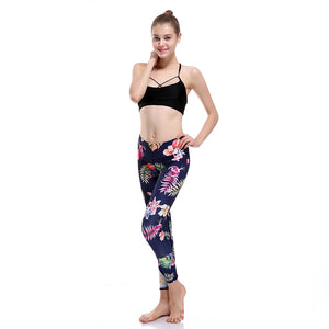 Colorful Bird Feather Navy Blue Yoga Pants - 3D Printed Sexy Leggings-Hoodie Time - Anime and Gaming Hoodies
