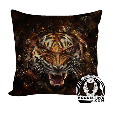 Black Fierce Tiger Throw Pillow - Double Printed Couch Pillows-Hoodie Time - Anime and Gaming Hoodies