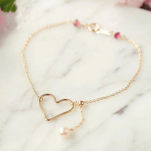 14k Gold Filled Hand Made Jewelry Gift - Dainty Gold Hollow Heart with A Pearl Bracelet-Hoodie Time - Anime and Gaming Hoodies