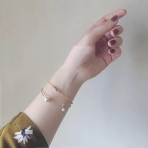 14k Gold Filled Hand Made Jewelry - Dainty Tiny Gold Satellite Beads Bracelet-Hoodie Time - Anime and Gaming Hoodies
