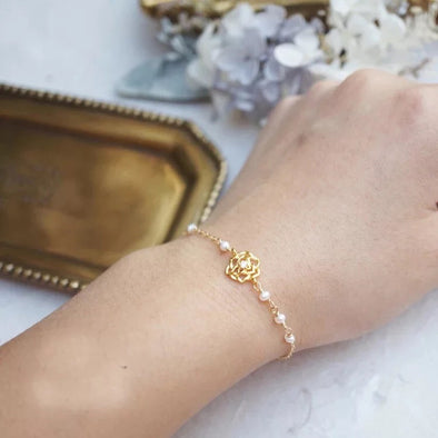 14k Gold Filled Hand Made Jewelry Gift - Dainty Solitaire Rose Flower with A Pearl Charm Bracelet-Hoodie Time - Anime and Gaming Hoodies