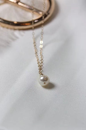 14k Gold Filled Hand Made Jewelry Gift - Tiny 4A Pearl Pendant Gold Daily Necklace-Hoodie Time - Anime and Gaming Hoodies