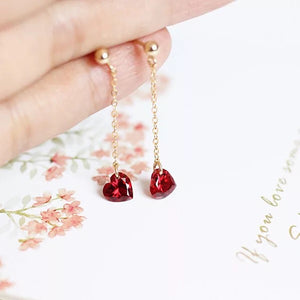 14k Gold Filled Hand Made Jewelry Gift - Delicate Red Crystal Heart Charm Ear Drops and Ear Studs-Hoodie Time - Anime and Gaming Hoodies
