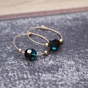 14k Gold Filled Hand Made Jewelry Gift - Green Cubic Gold Ear Hoops Daily Earrings-Hoodie Time - Anime and Gaming Hoodies