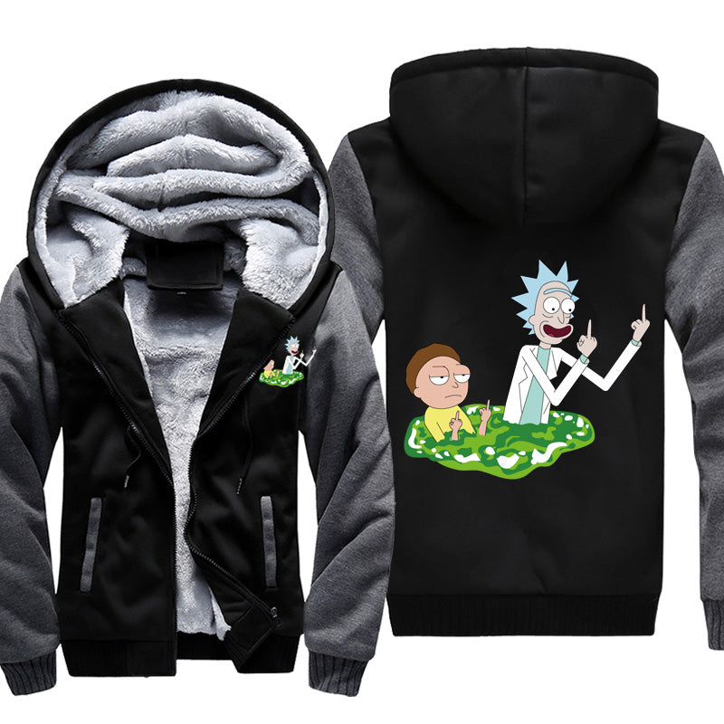 Rick and Morty Middle Finger Fleece Jacket - Rick and Morty Hooded Jackets-Hoodie Time - Anime and Gaming Hoodies