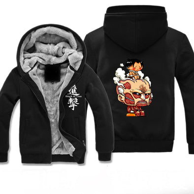 Attack on Titan Fleece Jacket - Cute Titan Jacket Hoodie - Thick-Hoodie Time - Anime and Gaming Hoodies