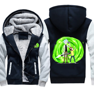 Evil Morty and Rick Fleece Jacket - Rick and Morty Hooded Jackets-Hoodie Time - Anime and Gaming Hoodies