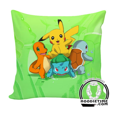 Starting Pokemon Throw Pillow - Pokemon Couch Pillow - Printed Pillows-Hoodie Time - Anime and Gaming Hoodies