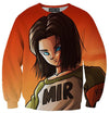 Dragon Ball Z Super Sweaters - Android 17 Sweatshirt - DBZ Full Printed Clothing-Hoodie Time - Anime and Gaming Hoodies