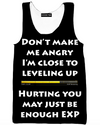 Angry Level Up EXP Black Tank Top - Funny Gaming Gym Shirts and Clothing-Hoodie Time - Anime and Gaming Hoodies