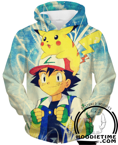 Ashe and Pikachu Pull-Over Hoodie - Pokemon-Hoodie Time - Anime and Gaming Hoodies