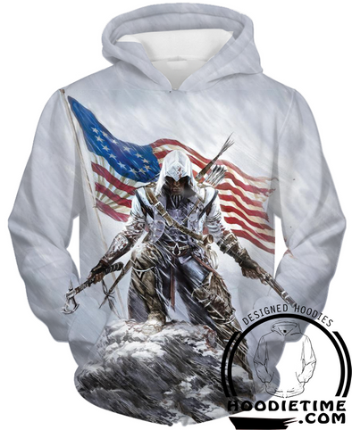 Assassins Creed American Flag Hoodie 2 - Pullover 3D Hoodie-Hoodie Time - Anime and Gaming Hoodies