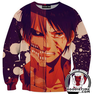 Attack on Titan Sweaters - Eren Titan Sweatshirt Anime Clothing - Full Printed-Hoodie Time - Anime and Gaming Hoodies