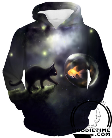 Goldfish and Cat Hoodie