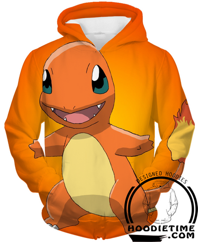 Pokemon - Happy Charmander Hoodie - Pullover 3D Hoodie-Hoodie Time - Anime and Gaming Hoodies