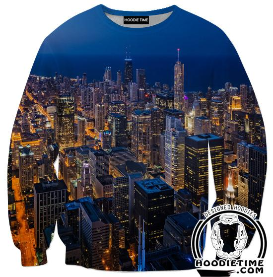 Chicago View Sweatshirt - Chicago City Clothing-Hoodie Time - Anime and Gaming Hoodies