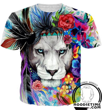 Colorful and Prideful Lion T-Shirt - 360 Printed Clothing-Hoodie Time - Anime and Gaming Hoodies