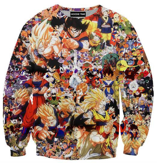 Dragon Ball Z - All Characters (Goku, Vegeta, Etc) Sweatshirt - 3D Sweaters-Hoodie Time - Anime and Gaming Hoodies