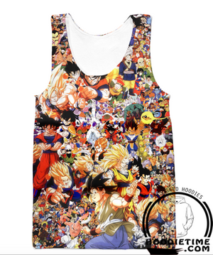 Dragon Ball Z - All Characters (Goku, Vegeta, Etc) Tank Top - 3D Gym Shirts-Hoodie Time - Anime and Gaming Hoodies