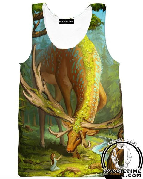 Elf and the Forest God Deer Tank Top - Fantasy Gym Shirts - 3D Clothing-Hoodie Time - Anime and Gaming Hoodies