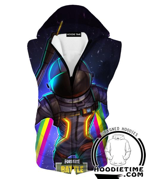 Fortnite Astronaut Hooded Tank Top - Battle Royale Hoodie Tanks Gaming Clothing-Hoodie Time - Anime and Gaming Hoodies