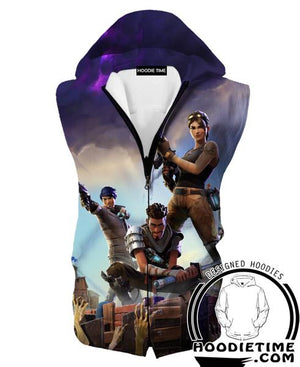 Fortnite Hooded Tank Top - Battle Royal Hoodie Tanks Gaming Clothing-Hoodie Time - Anime and Gaming Hoodies