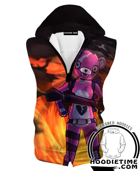 Fortnite Pink Bear Hooded Tank Top - Fire Fortnite Hoodie Tank Game Clothing-Hoodie Time - Anime and Gaming Hoodies