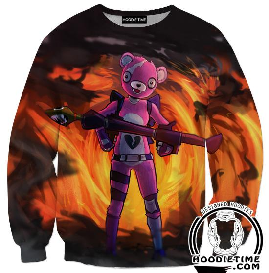 Fortnite Pink Bear Sweatshirt - Fire Fortnite Sweaters Game Clothing-Hoodie Time - Anime and Gaming Hoodies